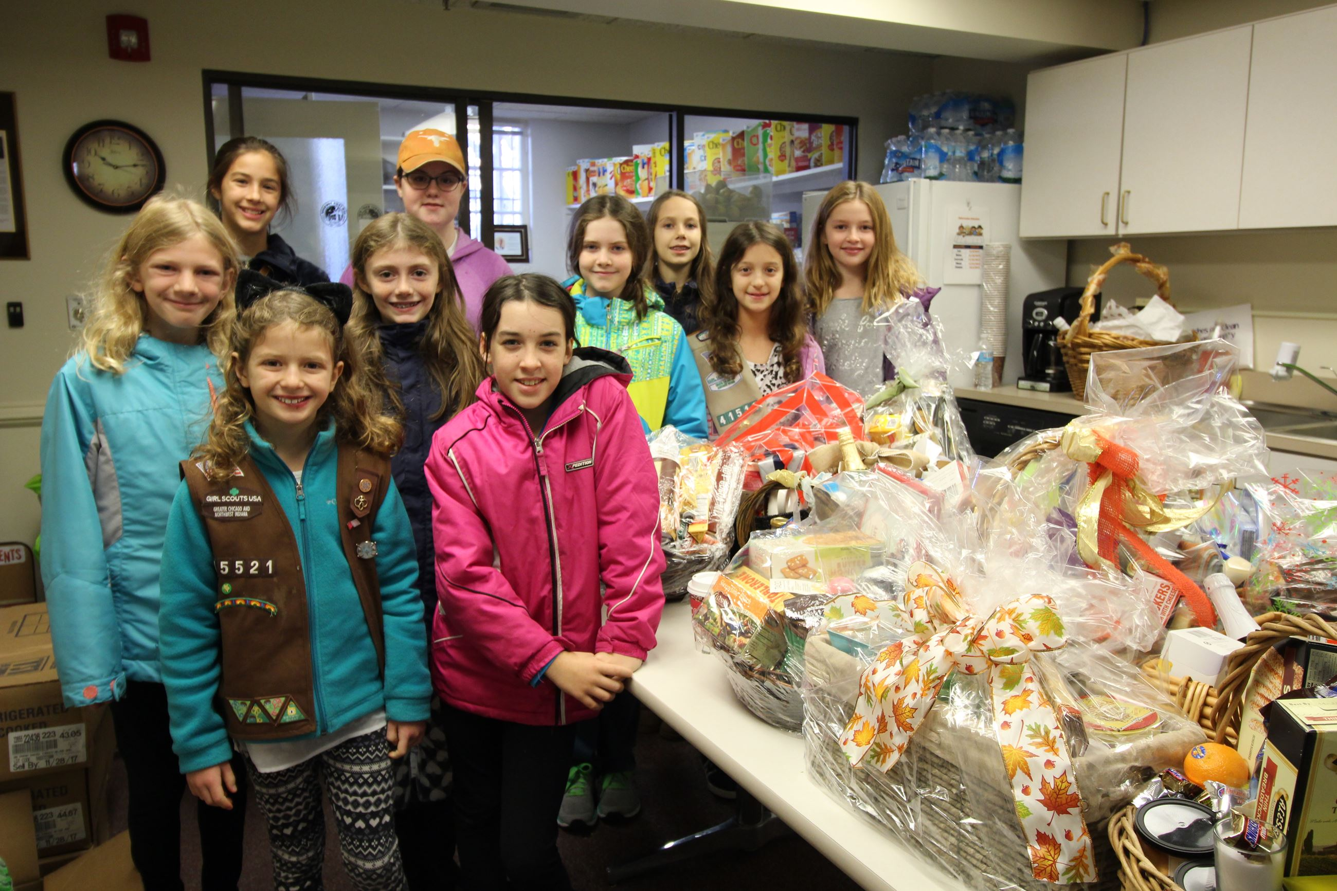 Girls with Food Pantry Donations